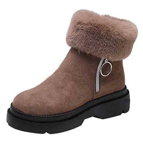 Stivali donna zeppa invernali, abcone donne scarpe flock caldo pelliccia ecologica piatto zipper scarpe a punta arrotondata ispessimento antiscivolo morbida stivali martin casuale esterna
