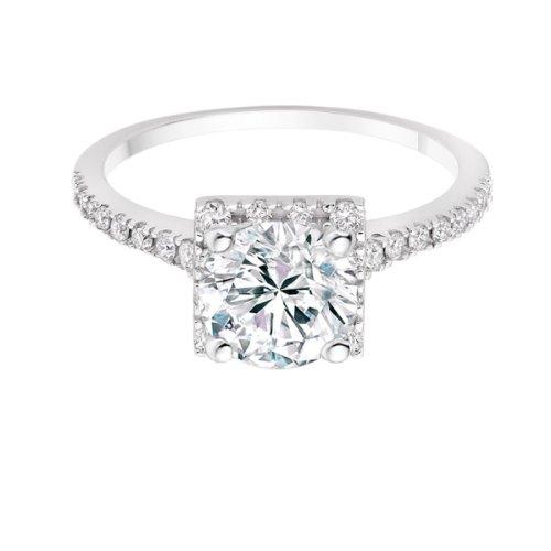 Diamond Manufacturers, Damen Verlobungsring mit 0.75 Karat G/VS1 feinem und zertifiziertem Runddiamant in Platin - 4