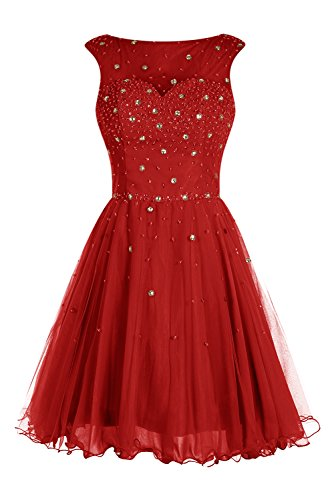 Bbonlinedress Robe courte de soirée de cocktail Robe de bal emperlée en tulle Rouge