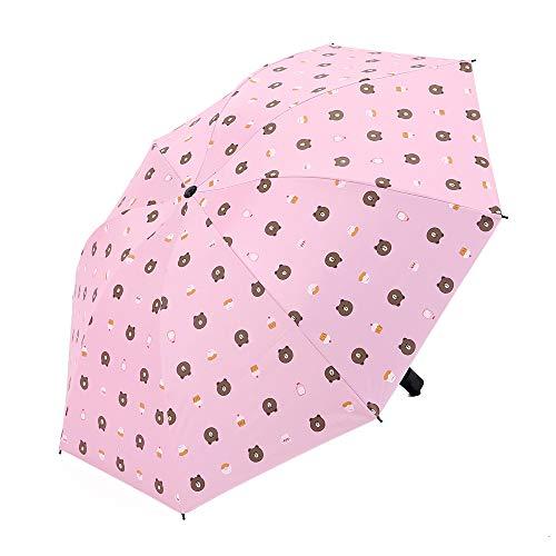 LYJZH Regenschirm Taschenschirm - Kompakt, Stabil - Schirm für Reisen & Business Bär Regenschirm aus schwarzem Gummi Sonnenschutzschirm colour2 98cm