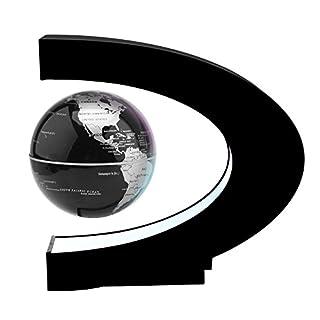 Magnetschwebebahn Floating Globe, ABEDOE 360 ° Weltkarte Globus C Form Basis mit LED-Licht Pädagogisches für Kinder Geschenk Home Office Schreibtisch Dekoration (Black)