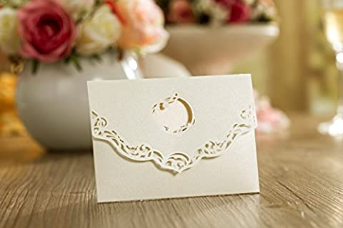 10 x Perla Mini Ivory Laser Cut Pearlescent Pocket Wallet Use As Laser Cut Wedding Invitation, RSVP, Save the Date, Lottery Ticket Holder (PER1)
