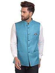 River Hill Mens Light Blue Festive Nehru Jacket/Waistcoat