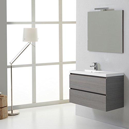 Mobile bagno manhattan 90 cm con cassetti con vasca a sinistra