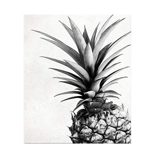 MINRAN DECOR A Impression sur Toile - No Frame Image sur Toile - Moderne Plantes Tropicales Ananas Noir et Blanc - Tableaux pour la Mur - Motif Moderne - Décoration, 2, 60x80cm
