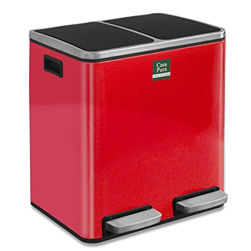 casa pura Abfalleimer Felix | Edelstahl Mülleimer mit Pedal | 2 Fach Mülltrennsystem für Küche und Büro | 30 oder 60 Liter | Trend Farben zur Auswahl (60 L - Rot)