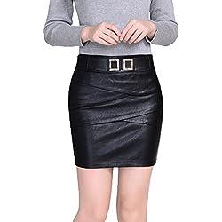 Helan Mujeres Breve cuero multi capa PU del diseno de la falda delgada