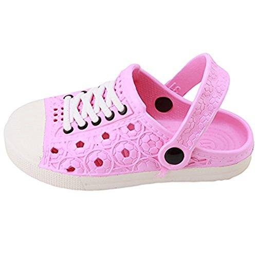 Hengsong Kinder Clogs Hausschuhe Pantoletten in versch Größen EVA-Clog Unisex Kinder Gartenschuhe Bade Schuhe Sandalen (Asian size 26, Rosa)