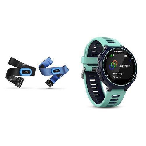 Garmin - Pack Forerunner 735XT bleue et vert d'eau + Ceintures Cardio-Fréquencemètre HRM-Tri/HRM - Swim