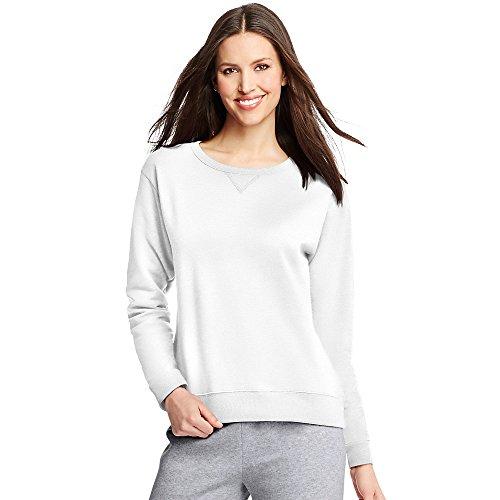 Hanes ComfortSoft EcoSmart® Women's Crewneck Sweatshirt: White, XL Hanes Womens Sweatshirt