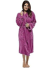 Albornoces Mujer Invierno Bata de Abrigo Tamaño Grande Franela Suave Manga Larga Ropa de Baño Casa para Hombre Camisones Albornoz…