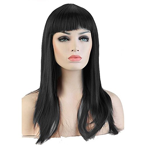S-noilite 58CM Dark Black Long Straight Full Wig Flat Fringe Cosplay Party Daily Dress Synthetic by (Lieferung Dress Fancy)