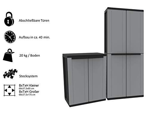 Kreher Kunststoffschrank Set: Universalschrank und Beistellschrank. Maße Universalschrank BxTxH ca. 68 x 37,5 x 170 cm. Maße Beistellschrank BxTxH ca. 68 x 37,5 x 85 cm (Farbe Garage Tür)