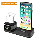 Foxnovo Stand 3 in 1 per Apple Watch, iPhone e Air Pods in Silicone atossico Compatibile con Apple Watch 4/3/2/1 AirPods e iPhone X/8/8 Plus/7 plus/6s