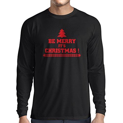 """T-shirt manica lunga da uomo """"E Natale"""" regali di Natale Nero Rosso"""