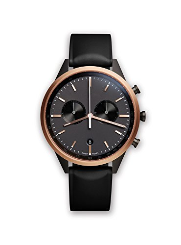 uniform wares unisex pvd rose gold quartz watch with black dial chronograph display and rubber strap c41