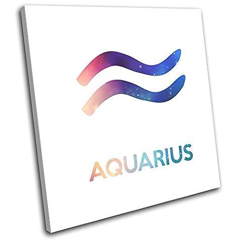 Bold Bloc Design - Zodiac Symbols Aquarius Space Starsign 75x75cm SINGLE Boite de tirage d'Art toile encadree photo Wall Hanging - a la main dans le UK - encadre et pret a accrocher - Canvas Art Print