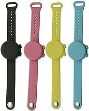 4PC Hand Sanitizer Silicone Refillable Wristband, Portable Dispensing Liquid Bracelet Wristband Watch Band Pum