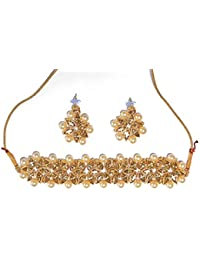 Indian Fashion Jewellery Golden Pearl Choker/Necklace Set with Earrings for Girl and Women