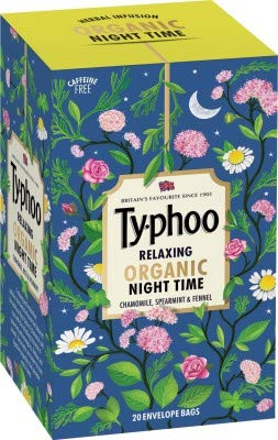 Typhoo- Relaxing Organic Herbal Tea -Night Time with Chamomile, Spearmint & Fennel - 20 Tea Bags