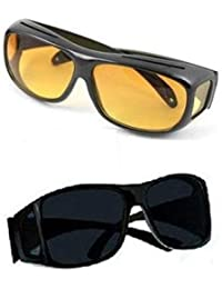 SKYFUN (LABEL) Anti Glare Wrap Around Day and Night HD Vision UV Protection Unisex Sunglasses for Car Bike Drivers (Black)