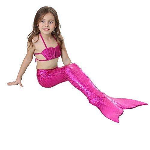 Alxcio Mädchen Meerjungfrauen Bikini Tankini Kostüm Meerjungfrauenschwanz zum Schwimmen Meerjungfrau Meerjungfrauenschwanz + Schwanzflosse + Niedlich (Herren Kostüme Meerjungfrau)