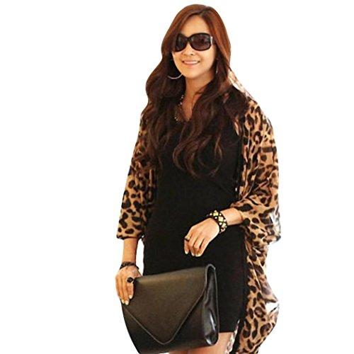 Ningsun Chiffon Coprispalle per cardigan Moda Donne Leopardato Manica pipistrello Cardigan chiffon tunica del capo Lady Tops Scialle