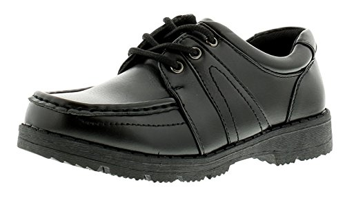 Rockstorm New Older Boys/Childrens Black Lace UPS Synthetic Leather School Shoes - Black - UK Size 2