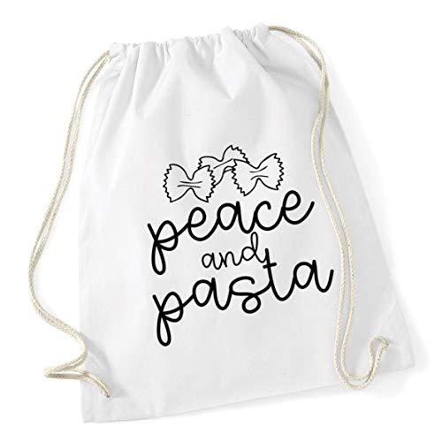 Hippowarehouse Peace and pasta Drawstring Cotton School Gym Bag 37cm x 46cm, 12 litres