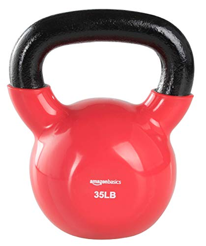 AmazonBasics Vinyl Kettlebell - 35 Pounds, Red