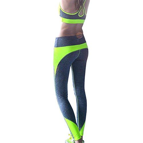 Pantalon de sport Ularmo Pantalon femme taille haute sport Legging Workout Sport Fitness Pantalon en cours Jaune