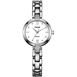 geya Damen ola-gy76003b Japan Quarz Analog Display Crystal Jewelry Wasserdicht Stahl Uhr mit weißem Zifferblatt