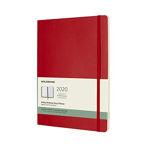 Moleskine agenda 12 mesi settimanale, diario accademico 2020 con copertina morbida e chiusura ad elastico, colore rosso scarlatto, dimensione extra large 19 x 25 cm, 144 pagine