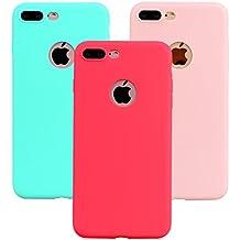 "Funda iPhone 8 Plus, 3Unidades Carcasa iPhone 8 Plus(5.5"") Silicona Gel, OUJD Mate Case Ultra Delgado TPU Goma Flexible Cover para iPhone 8 Plus - Rojo, Rosa claro, Verde menta"