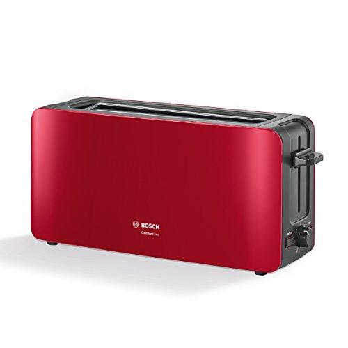 Bosch tat6a004Tostadora de ranura larga Comfort Line, automática de la rebanada, función de descongelación, 1090W, Rojo/Antracita