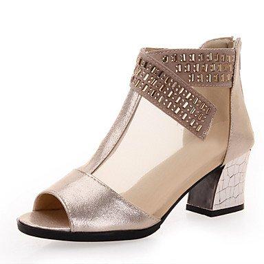 Silence @ Chaussures de danse pour femme Sneakers respirant Cuir Chunky Talon Noir/doré doré