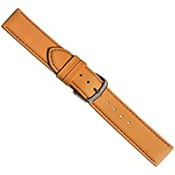 Beach Replacement Band Watch Band Leather Kalf brown-beige 20417S, width:28mm