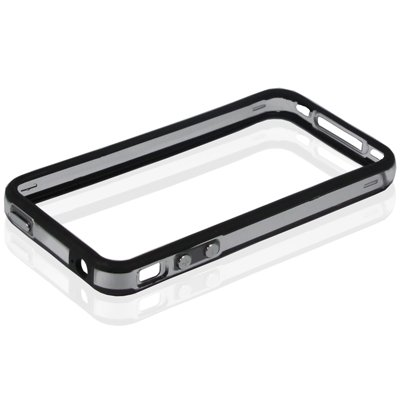 Cover Case Custodia Bumper Per Iphone 4 4 S Nero Trasparente