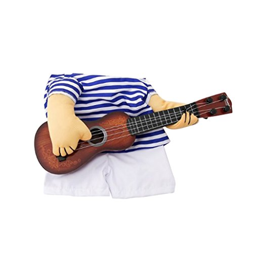 MagiDeal 1 Stück Modische Blaue Streifen Hundekostüm, Gitarrenspieler Kostümspiel für Hunde und Welpen - Weiß + Blau, Große M