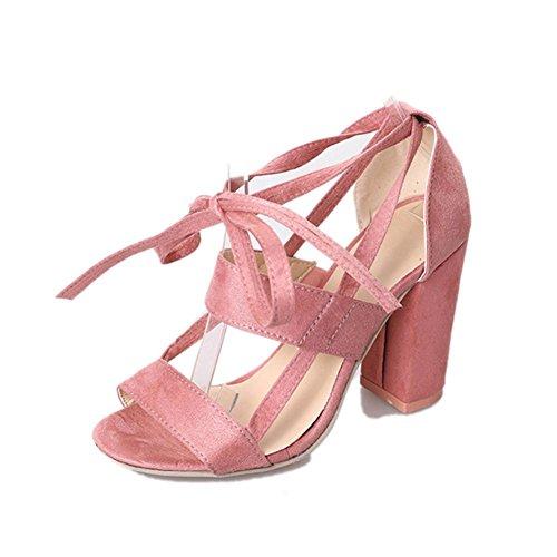 Sandalias mujer, Manadlian Moda Sandalias de mujer Tobillo Tacones altos Fiesta en la calle Zapatos con punta abierta día de San Valentín (CN:42, Rosa)