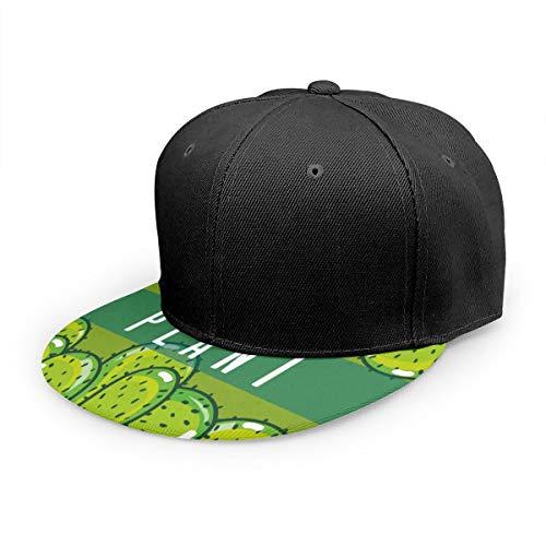 Wfispiy Gorra Plana Cactus Concepto de Planta Verde Gorra de béisbol Ajustable Sombrero de papá de bajo Perfil