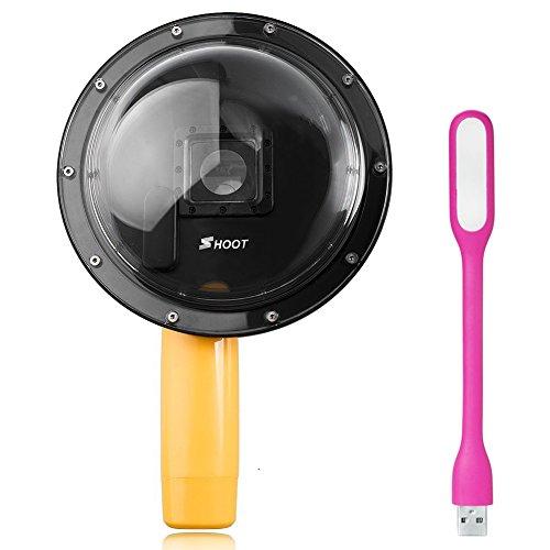 First2savvv GO-YYZ-01D02 6 pollice Dome Port per GoPro Hero 3 + / Hero 4 subacquea fotografico a mano Grip + luce LED USB