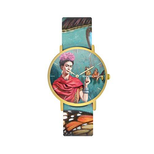 Alviero Rodriguez Reloj Frida Butterfly Arte Cuadro Mariposas con Correa de Piel auténtica