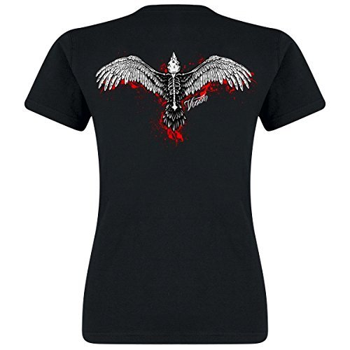 hen T-Shirt schwarz Schädel Knochen Top Aufdruck Allover Emo - Schwarz, Large (UK 12-14) (Krähe Kostüm Mädchen)