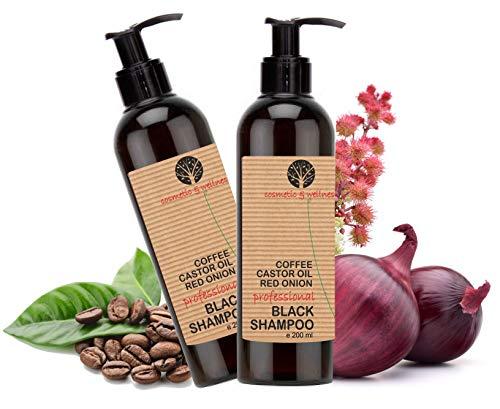 Schwarzes Koffein-Shampoo, Rizinusöl und roter Zwiebel Extrakt Anti Fall Nachwachsen der Haare Anti-Lösung regt das Haarwachstum Pack 2 x 200 ml -
