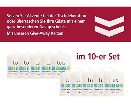Candleworld-Fulda Give-Away-Kerze modern für Jungen, Größe 60/50 mm personalisiert mit Name und Datum (im 10er-Set) GAT06