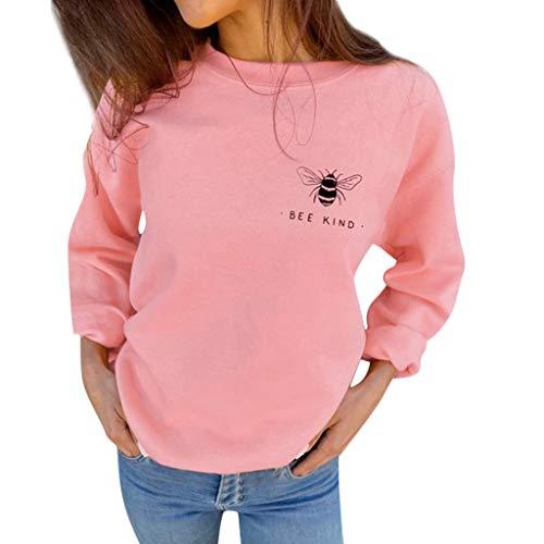 Yowablo Sweatshirt Damen Rundhals Sweater Sportlicher Stil mit Biene Art Brief drucken lässig lose (L,1- Rosa)
