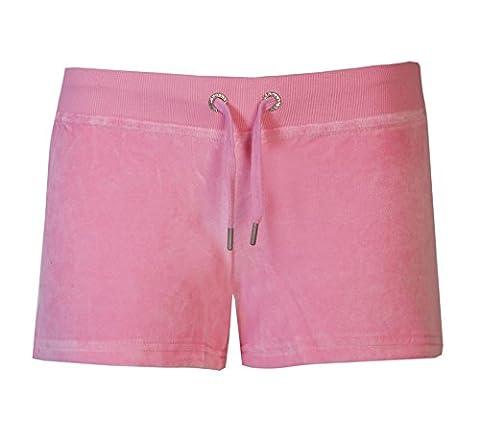 Womens Shorts Ladies Beach Shorts By Brody & Co. Velour Hot Pants Diamante Rhinestone Crown Girls Summer Wear (L,