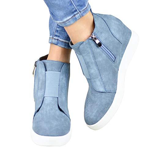 Botines Mujer Cuña Planos Invierno Planas Botas Tacon Casual Zapatos para Dama Plataforma 5cm Elegante Zapatillas Calzado Moda Negro Rosa Marrone Grigio 34-43 BL38