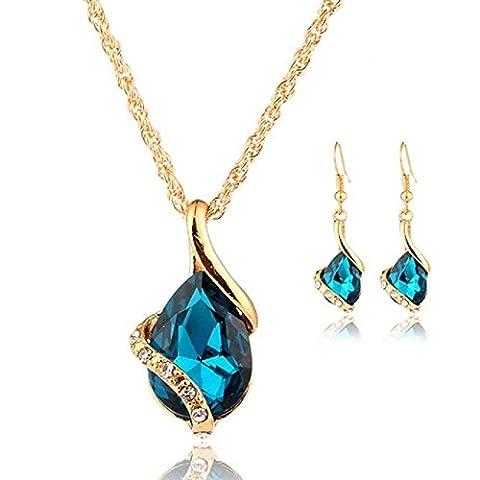 Rcool Women Girl Crystal Pendant Chain Necklace Choker Drop Earrings Jewelry Set (Blue)